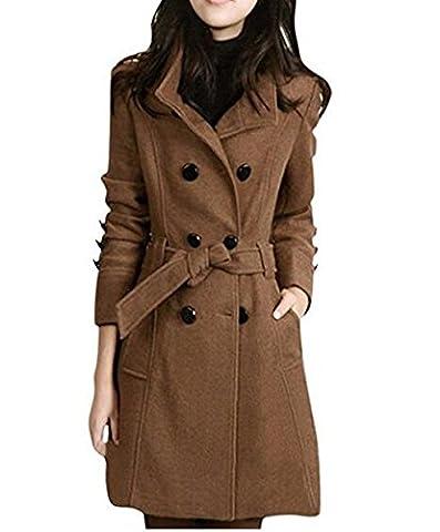 Women's Warm Fleece Hooded Double Breast Jacket with Belt Coat