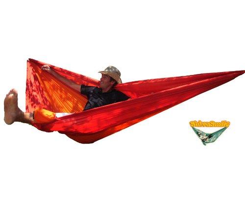 - Hängematte, Fallschirmseide Rot und Orange - 5 m mit integrierten, 240 x 150 CM