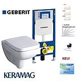 Geberit Duofix Vorwandelement, KERAMAG Renova Nr. 1 Plan Design Tiefspühl WC Komplettset + Deckel mit Absenkautomatik, Beschichtung, Schallschutz, Drückerplatte Weiß