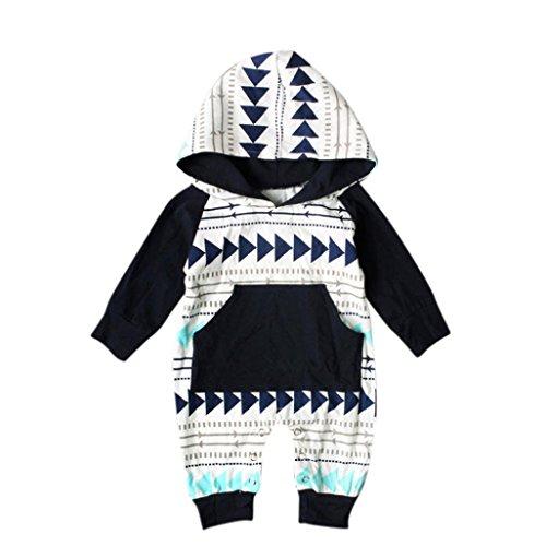 Babykleidung,Sannysis Neugeborene Baby Jungen Mädchen Geometrie Druck Kapuzen Spielanzug Overall Outfits 6-24Monat (70, Schwarz)