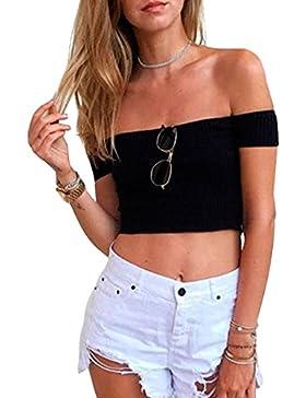Simplee Apparel le donne sexy bardot a maniche corte dalla spalla top scollato maglia nervata maglione