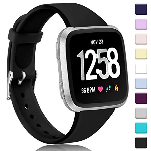 Zekapu Correa para Fitbit Versa/Versa Lite, Blando Silicona Narrow Delgada Deporte Reemplazo Pulsera para Fitbit Versa Reloj Inteligente, Mujeres Hombres,Pequeño Negro