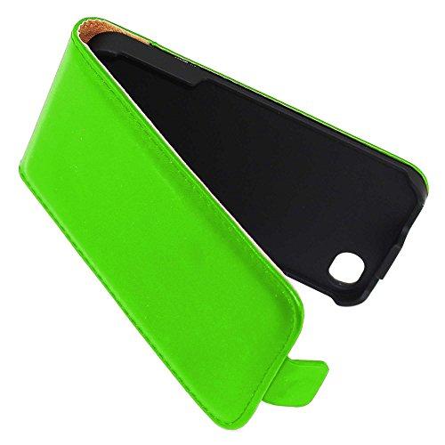 ebestStar - pour Apple iPhone 4S, 4 - Housse Coque Etui à rabat PU cuir ULTRA FIN (ultra slim case) + Stylet tactile, Couleur Vert [Dimensions PRECISES de votre appareil : 115.2 x 58.6 x 9.3 mm, écran Vert
