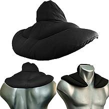 Almohada para el cuello | negro | Semillas de lino | Cojín para la cerviz con cuello levantado en forma de herradura| Paquetes de calor