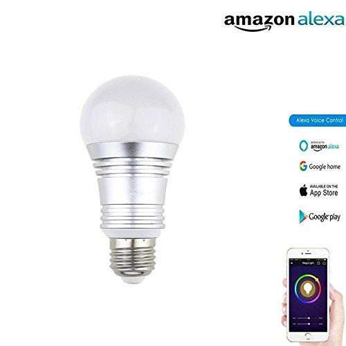 Smart LED Glühbirne 7W RGB Weiß RGBW Farbwechsel Dimmable Wifi Aktivieren Fernbedienung APP Telefonsteuerung Timing-Funktion Keine Hub-Unterstützung Alexa Google Home Colorful,Silver