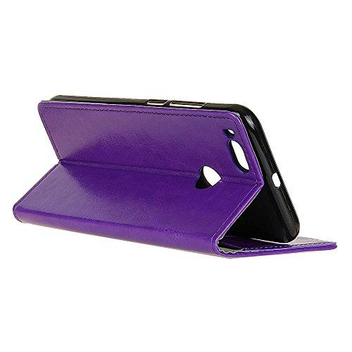 Crytal Grain Texture Solid Color Premium PU Leder Folio Stand Case Geldbörse Tasche Tasche mit Kartensteckplätzen für Xiaomi 5x ( Color : Rose ) Purple