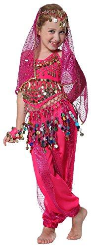 Kinder Bauchtanz indianisch Tanzkostüme Halloween Karneval Kostüme Komplet (Bauchtanz Halloween Kostüme)
