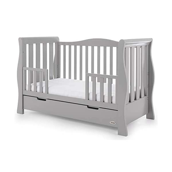 Obaby Stamford Luxe Sleigh Cot Bed, Warm Grey Obaby Adjustable 3 position mattress height Sides remove to transform into toddler bed Includes matching under drawer for storage 14