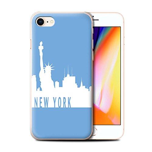 Stuff4 Hülle / Case für Apple iPhone 8 / Melbourne/Rot Muster / Stadt Skyline Kollektion New York/Blau