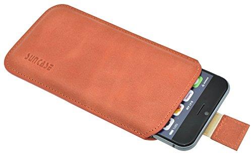 Original Suncase Tasche für iPhone 8 / iPhone 7 / iPhone 6s / iPhone 6 (4.7 Zoll) *Ultra Slim* Leder Etui Handytasche Ledertasche Schutzhülle Case Hülle (mit Zieh-Lasche) schwarz mit blauen Nähten antik-lachsrosa