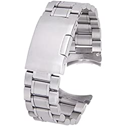 20mm Stainless Steel Solid Links Bracelet Watch Band with 4pcs Watch Pins Spring Bars (Silver)