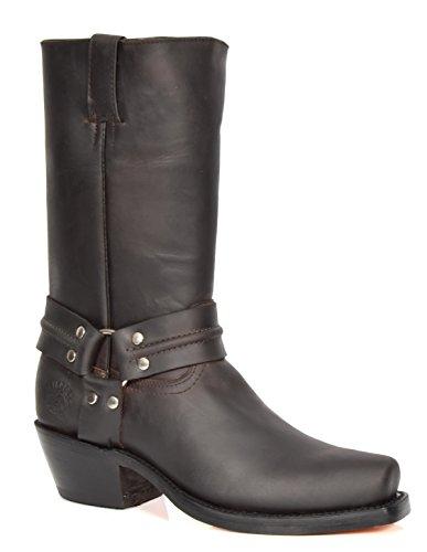 Herren Echte Leder Cowboy überstreifen Stiefel Western Absatz Wadenlänge Schuhe HLG04HA (EU 44, Braun) (Cowboy Kuh Western)