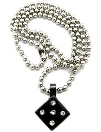Original collier argent à pendentif de dé à jouer numéro 5, avec pierres de Strass claires, chaîne à billes en acier inoxydable l.3 mm L.61 cm