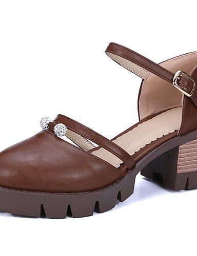 WSS 2016 Chaussures femmes PU été / confort talons extérieur / casual gros talon mousseux glitter / boucle noir / marron / gris gray-us6 / eu36 / uk4 / cn36