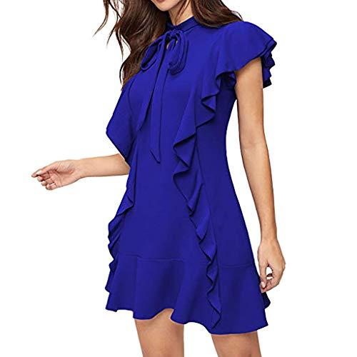 Lucky Mall Damen Rüschen Ärmelloses Kleid mit Krawatte, Einfachen Stil Business Kleid Volltonfarbe Mini Kleid Sommer Hemdkleid Partykleid Strandrock Blusekleid