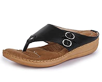 TRASE Women's Black Synthetic Slippers with Doctor Sole - 3 UK