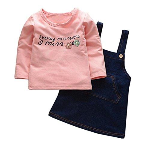 Amlaiworld Baby Mädchen langarm blumen shirt+Denim band röcke mode cool kinder kleider,12-36Monate (36 Monate, Rosa) (Coole Band)