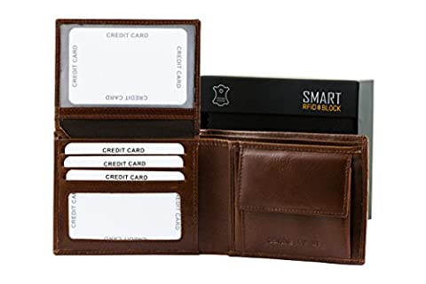 RFID Wallet - Contactless Card Protection - Shiny Brown Genuine Cow Leather Odeon SMART RFID BLOCK collection - TUV TESTED & CERTIFIED by KORUMA