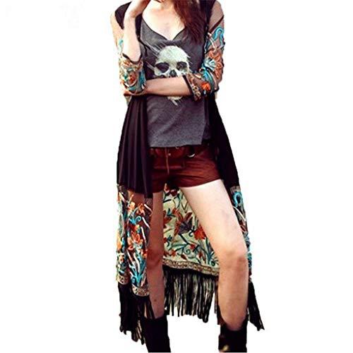 Oksea Damen Langarm Floral Quaste Cardigan Kimono Chiffon Sonnenschutzbluse Top Sonnenschutzkleidung des ethnischen Stils weibliche ()