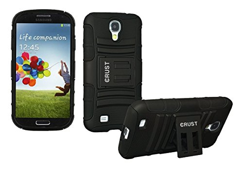 S4 Cover, CRUST™ Armor Case For Samsung Galaxy S4 I9500, S IV Shock Proof High Impact Kick Stand Dual Layer Hard/Soft Back Cover - Retail Packaging