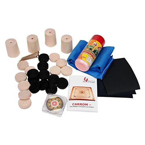 GICO Carrom Zubehör Set für alle handelsüblichen Boards: Carrom Steine, Gleitpulver, Pflegeset, Füsschen