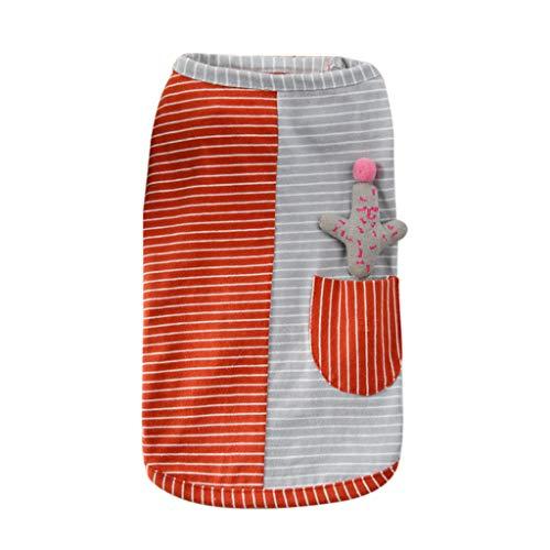 Makalon Hund Sommer Mode Freizeit Baumwolle Atmungsaktiv Gestreift gedruckt Kleider Hundepullover Hunde Kleid Kostüme Katze Frühling Süß Ärmellos Komfort Kleidung T-Shirt für Haustiere