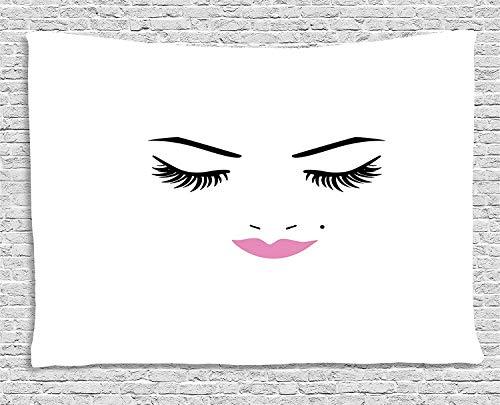 Eyelash Tapestry, Closed Eyes Pink Lipstick Glamor Makeup Cosmetics Beauty Feminine Design, Wall Hanging for Bedroom Living Room Dorm, 80 W X 60 L Inches, Fuchsia Black White -