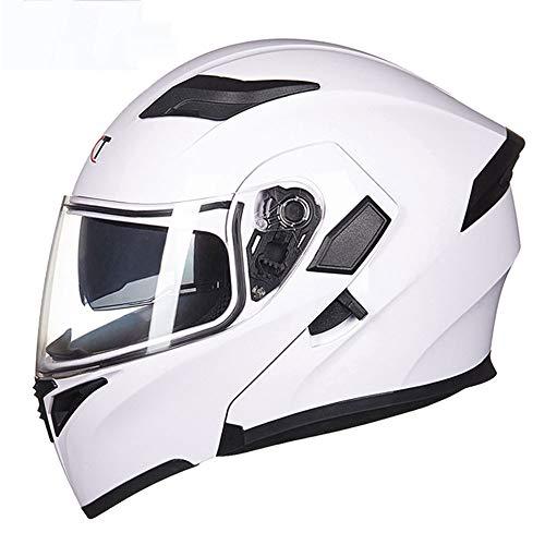 , Unisex-Racing-Vollgesichts-DOT-Zertifizierung Modular Street Bike Open Face Motorrad-Sturzhelm für Erwachsene mit Antibeschlag-Doppelscheibe,L ()