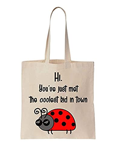 Hi, You've Just Met The Coolest Kid In Town Cool Ladybug Design Cotton Canvas Tote Bag
