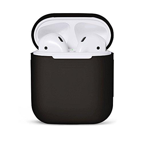 MC24 Soft Skin Silikon-Schutz-Hülle Testaxane für Apple AirPods Lade-Case Stossfestes Etui Cover Hülle Tasche für iPhone SE 7/8 / 7 Plus / 8 Plus/X Kopfhörer in schwarz