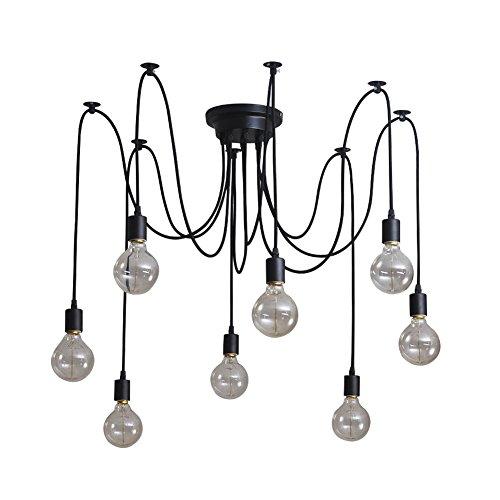 Signstek Deckenleuchte Lamp Industrial Vintage Stil Schmiedeeisen Large Semi Flush verwenden 8 E27 Edison Lampen in Schwarz für Studierzimmer Wohnzimmer Schlafzimmer (elegant 8)