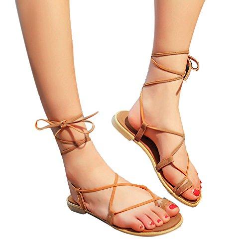 Sale! Böhmische Knöchelriemen Geflochtene Hausschuhe,Frauen Kreuzband römischen Gladiator Sandalen Strappy Thong flache Flip Flops Schuhe 39