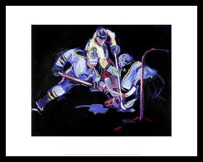 Eishockey-bilderrahmen (Terry Rose Poster Kunstdruck Bild Shot...And a Save! 28x36cm im Alu Rahmen in schwarz (breit))