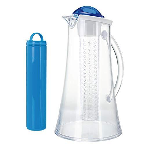 bremermann® Kühlkaraffe, Wasserkaraffe 2,4 Liter mit Kühl- und Aromastab (blau)