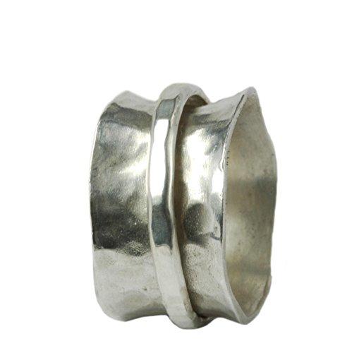 Breiter gewölbter Ring 925er Silber mit beweglicher Ringschiene Größen 66 (21.0)