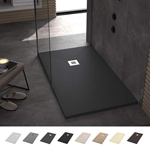 Duschwanne/duschtasse Rechteck Flach Antirutsch Stone - Komplettset - Alle Größen erhältlich - Inklusive Ablaufgarnitur - Anthrazit RAL 7016-100 x 140