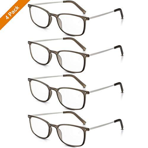 4 Paare Read Optics Herren/Damen Classy Vintage Lesebrille: Retro Style +1.5 Optische Qualität Clear Lens. Leichte, haltbare graue Polycarbonat-Kunststoffrahmen und stilvolle Metallarme