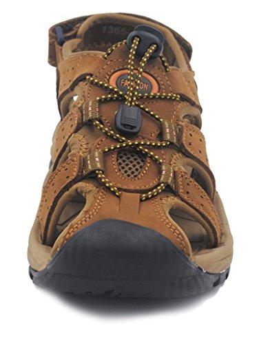 Homens Ilovesia Sandálias Sapatos Livre Arenosa desportivo Ar Marrom Ao E Dos Couro 5EqrBxqgw