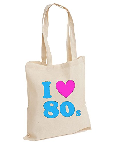 I Heart Love The 80's 80s Cotton Tote Bag