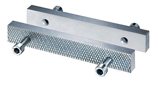 Heuer 116140 Schraubstockbacken, Wechselbacken (Stahl, gehärtet, verzinkt, Wend-und wechselbar, glatt, andere Seite geriffelt geeignet für Schraubstock 140 mm)