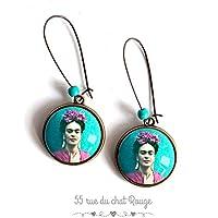 Orecchini Cabochon, Frida Kahlo, Messico, ritratto donna, turchese e viola, boho chic, boho, zingara