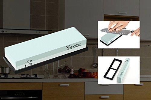 Yododo Premium Whetstone Messer Sharpener – 400/1000 Korn Zwei Sided Wet Schärfstein. - 6