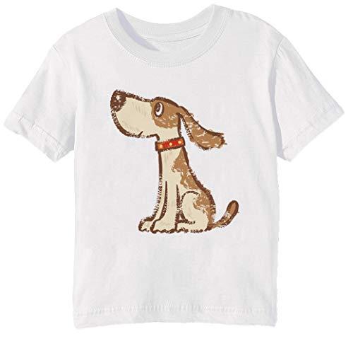 (Hund Sitzung Unisex Jungen Mädchen T-Shirt Rundhals Weiß Kurzarm Größe L Kids Boys Girls White Large Size L)