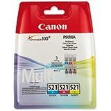 Original Tinte Canon CLI-521 2934B007 - 3x Premium Drucker-Patrone - Cyan, Magenta, Gelb - 3 x 446 Seiten