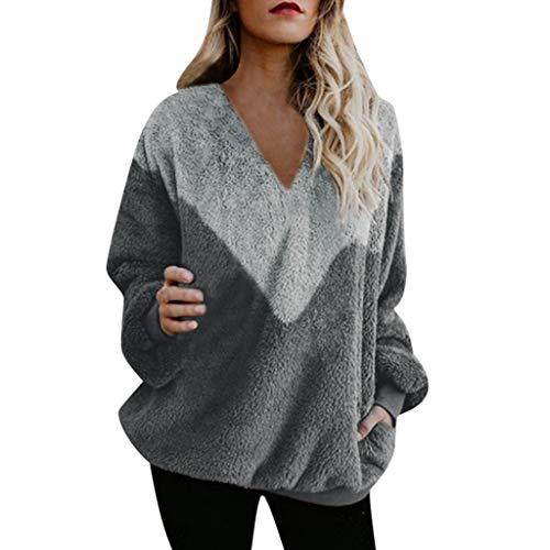 MORETIME Pullover Damen Warm, Pullover flauschig,Mode Patchwork Kleidung Sweatshirt Langarm Lose OverGröße Streetwear Strick Winter V Ausschnitt Pullover