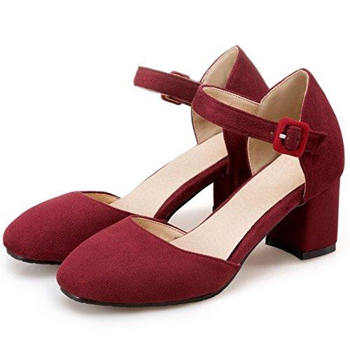 COOLCEPT Femme Mode Sangle De Cheville Sandales Talon Bloc Bout Ferme Chaussures Taille vin rouge