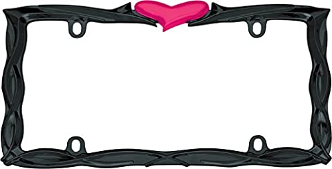 Cruiser Accessories 22456 Glossy Black/Pink Heart License Plate Frame