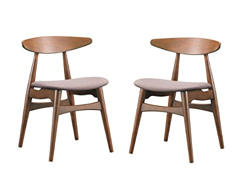 Baxton Studio Flamingo Mid-Century Dark Walnut Wood and Grey Faux Leather Dining Chairs
