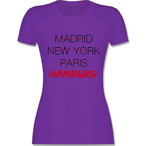 Städte - Weltstadt Hamburg - tailliertes Premium T-Shirt mit Rundhalsausschnitt für Damen Lila
