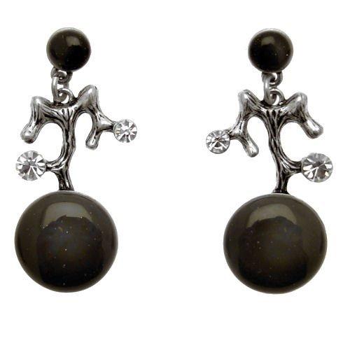 Acosta, effetto lucido, colore: grigio, trasparente, motivo: Abstract & Fashion Jewellery-Orecchini pendenti, in confezione regalo